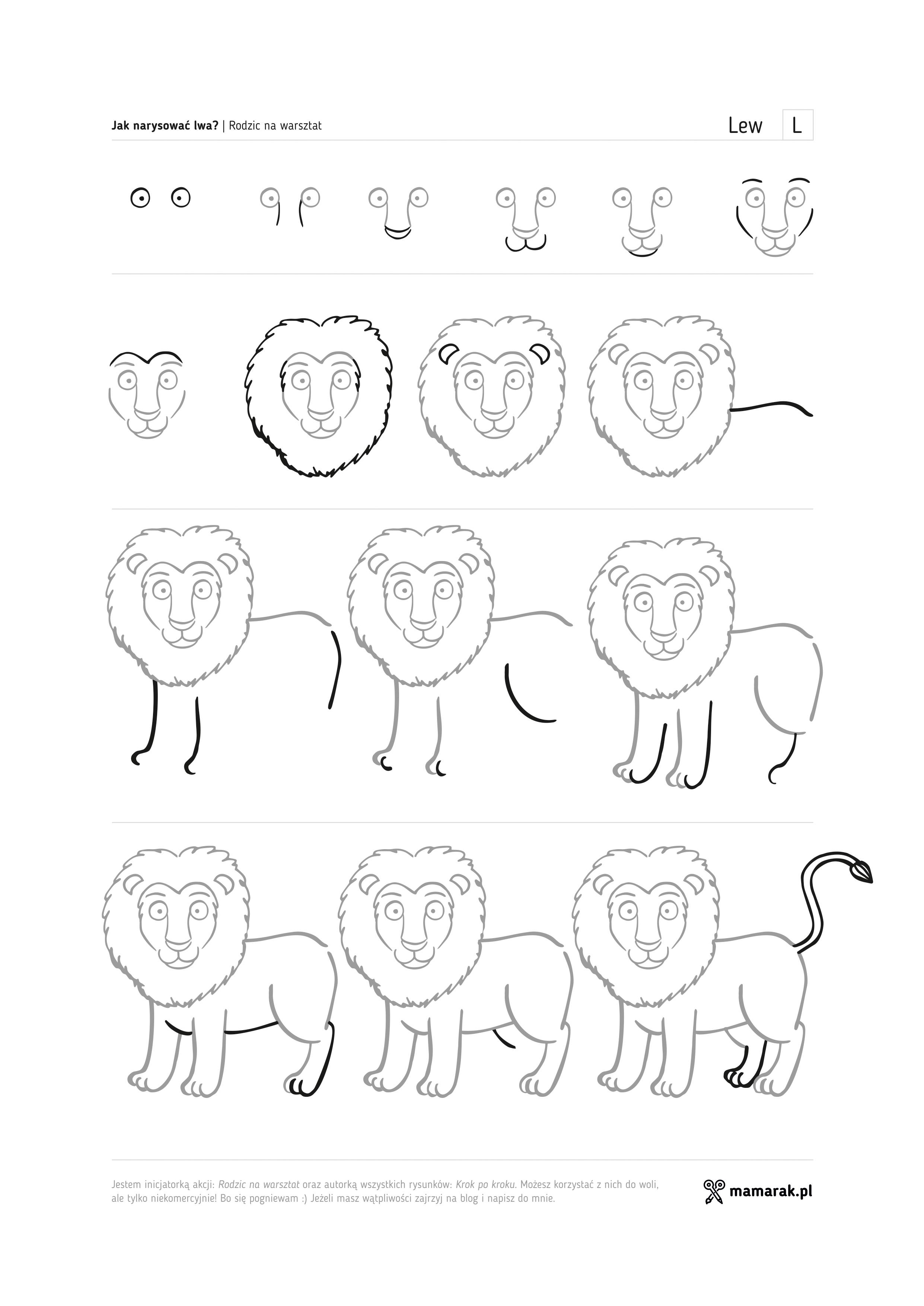 Jak narysować lwa i stworzyć z dzieckiem dzieło sztuki?  Mamarak -> Kuchnia Dla Dziecka Krok Po Kroku